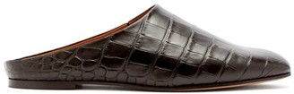 Emme Parsons Glider Crocodile-effect Leather Slide Slippers - Womens - Black