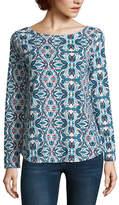 ST. JOHN'S BAY Long Sleeve Boat Neck T-Shirt-Womens