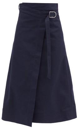 Gabriela Hearst Linda A-line Cotton-canvas Wrap Skirt - Navy