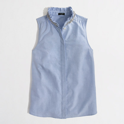 J.Crew Factory Factory jewel-collar oxford shell