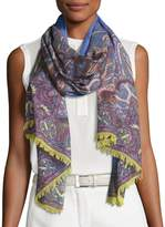 Etro Lightweight Paisley Wool-Blend Scarf, Purple/Blue