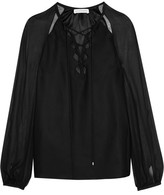 Altuzarra Benny Cutout Georgette-paneled Silk Blouse - Black
