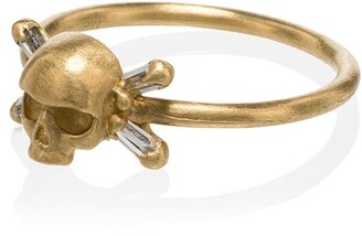 Polly Wales gold skull and crossbones 18K gold diamond ring