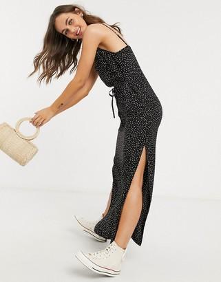 Miss Selfridge button through maxi dress in black spot