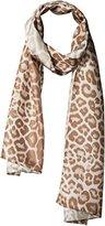Badgley Mischka Women's Leopard Printed Silk Oblong Scarf