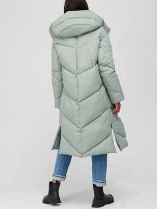 Very Longline Relaxed Padded Coat - Sage