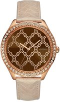 GUESS Brown and Rose Gold-Tone Sparkling Oversized Watch