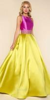 Mac Duggal Color Blocked Jewel Toned Open Back Beaded Evening Dress