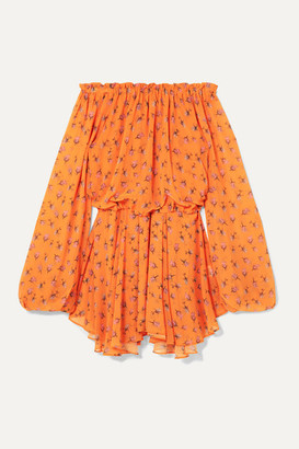 Rotate by Birger Christensen Off-the-shoulder Floral-print Chiffon Mini Dress