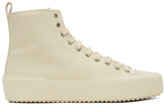 Jil Sander Off-White Canvas High-Top Sneakers
