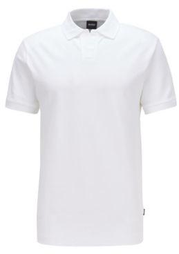 HUGO BOSS Stretch Cotton Polo Shirt With Open Collar - White