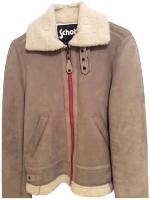 Schott Beige Shearling Jacket for Women