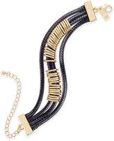 INC International Concepts Gold-Tone Black Braided Nylon Cord Bracelet, Only at Macy's
