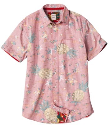 Mossimo Men's Short Sleeve Tropical Button Down - Red Pineapple Print