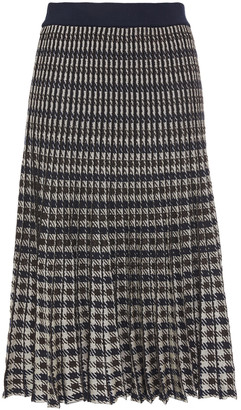 Baum und Pferdgarten Pleated Metallic Houndstooth Jacquard-knit Skirt