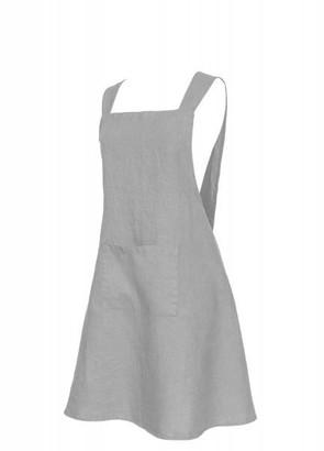 Berylune - Washed Linen Japanese Style Apron Light Grey
