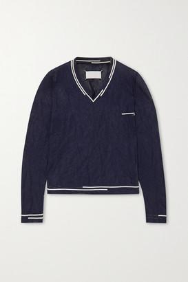 Maison Margiela Two-tone Crinkled Metallic Knitted Sweater - Navy