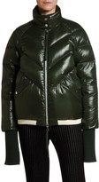 Moncler Yalou Chevron Quilted Knit-Trim Coat