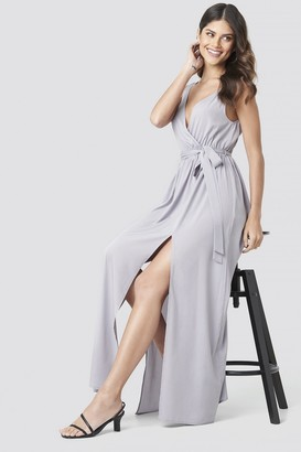 NA-KD Tie Waist Slit Maxi Dress Purple