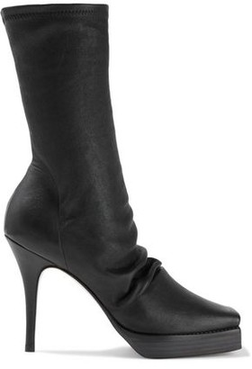 Rick Owens Scorpio Gathered Stretch-leather Platform Sock Boots