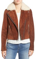 Andrew Marc Women's Suede Jacket With Genuine Shearling Collar
