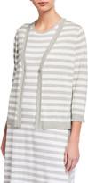 Joan Vass Striped V-Neck Cardigan