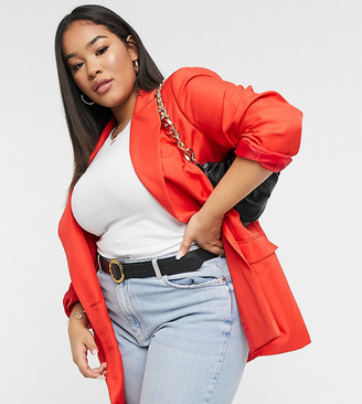 ASOS DESIGN Curve shrunken dad suit blazer in red