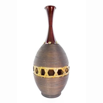HomeRoots Decorative Copper Red and Gold Spun Bamboo with Metal Vase
