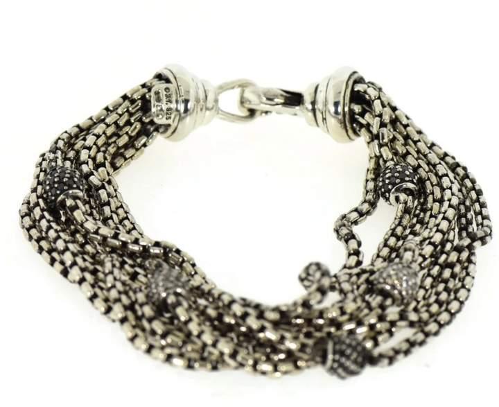 David Yurman 925 Sterling Silver 8 Strand Black/White Diamonds Bracelet
