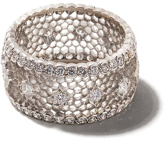 Buccellati 18kt white gold diamond band ring