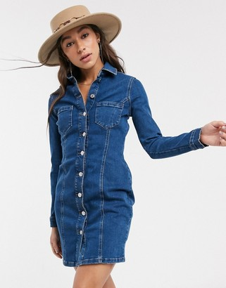 Topshop button through denim mini dress in blue