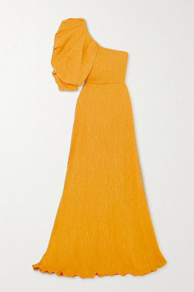 Johanna Ortiz Shimmering Blush Convertible One-shoulder Crinkled-crepe Maxi Dress - Yellow