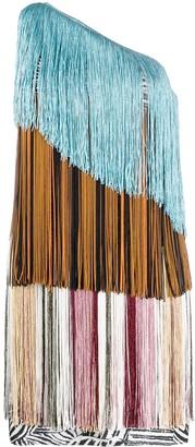 Missoni One-Shoulder Fringed Dress