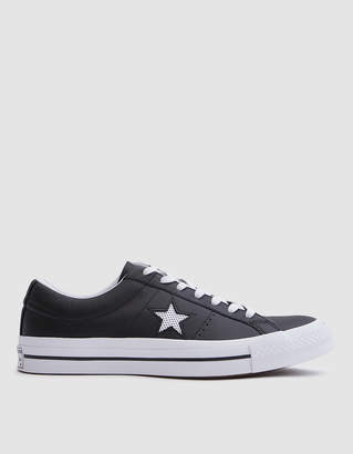 Converse One Star Ox Leather Sneaker in Black