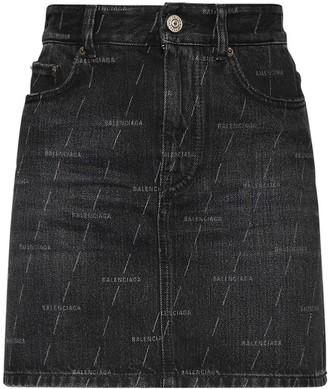 Balenciaga Lasered Logo Cotton Denim Mini Skirt