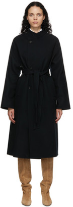 AURALEE Black Melton Long Coat