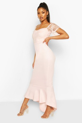 boohoo Lace Bardot Fishtail Maxi Dress