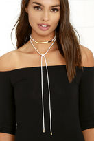 LuLu*s High Key Gold and White Wrap Necklace