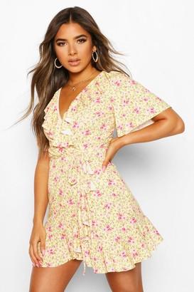 boohoo Petite Ditsy Floral Wrap Tea Dress