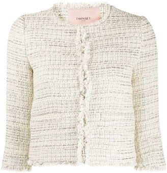 Twin-Set Cropped Tweed Jacket