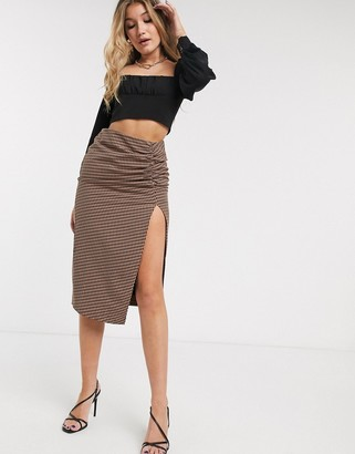 Capulet ives ruched check midi skirt
