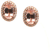 Tresor Collection - Morganite & Diamond Studs Earring in 18kt Yellow Gold
