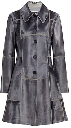The Fur Salon Norman Ambrose For Leather Trim Lamb Fur Flare Coat