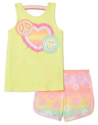 Wonder Nation Girls Graphic Tank Top and Shorts, 2-Piece Outfit Set, 4-18 & Plus