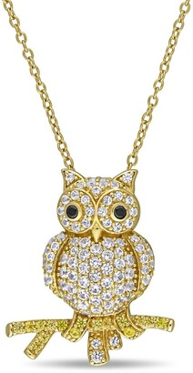 Miadora Yellow Plated Sterling Silver Created White and Yellow Sapphire Black Spinel Owl Necklace