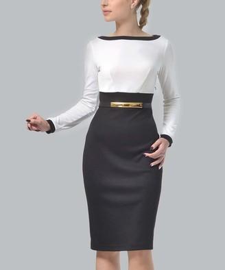 LADA LUCCI Women's Casual Dresses Black, - Black & Milky Boatneck Color Block Sheath Dress - Women