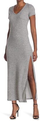 Velvet Torch V-Neck Ribbed Knit Maxi Dress