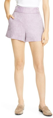 Veronica Beard Kimm Herringbone Linen Shorts