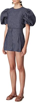 Carolina Herrera Chambray Pintuck Shorts