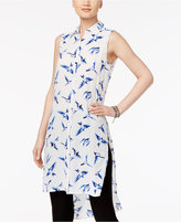 Cable & Gauge Bird-Print High-Low Tunic Shirt